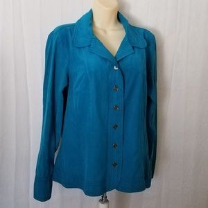 Soft Suede Look & Feel Button Down Blouse